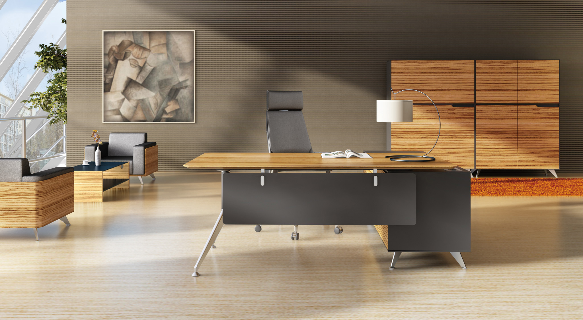 here home products lux novara desk with return novara desk with return